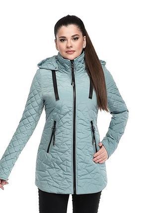 Женская куртка стёганная удлинённая р 46 - 56