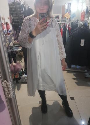 Крутое белое платье в оверсайз стиле - можно с 14-16 по 18-20 р-р