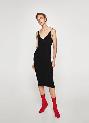Платье миди zara knit