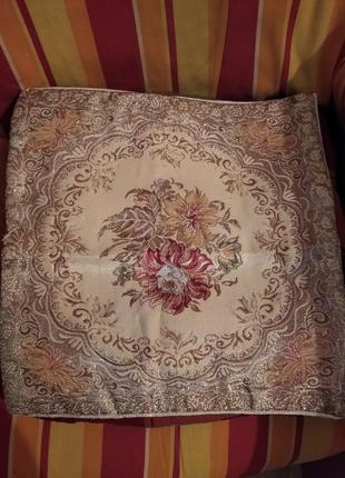 Красивый чехол наволочка из парчи на подушку на молнии 38см на 37см
