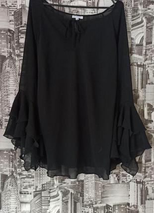 Шифоновая блуза черная блуза размер 50-52
