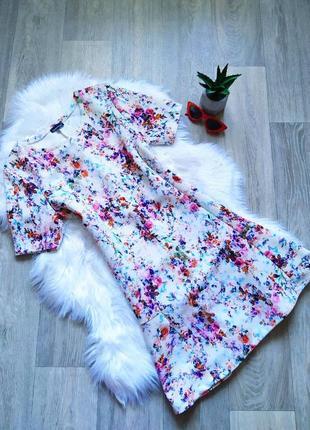 Шикарное цветастое платье по фигуре 💣