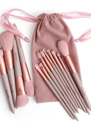 Розовый комплект кистей для макияжа с мешочком mange 13 штук
