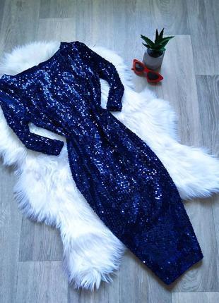 Синее блестящее платье в пайетках 🤩