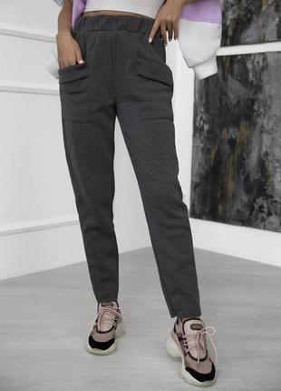 Утепленные флисом брюки с карманами, жіночі утеплені спортивні штани