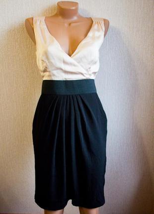 Платье футляр пудровый шелк с черным пудра