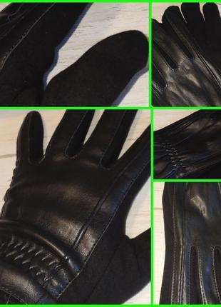 Мужские перчатки комбинированные  ( кожа + трикотаж).