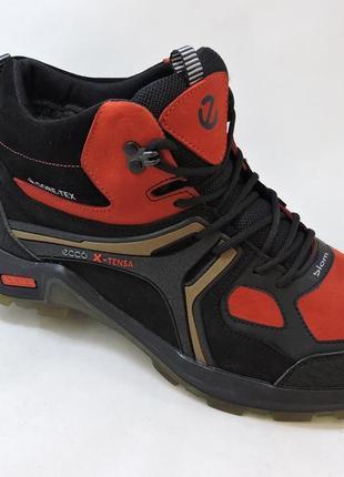 Мужские кожаные ботинки зимние кроссовки ecco