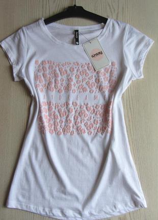 Белая женская футболка sinsay