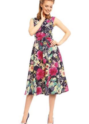 Платье в ретро стиле цветочный принт