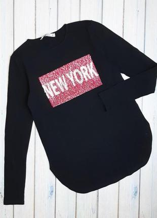 💥1+1=3 стильный черный тонкий свитер гольфик fb sister, размер 44 - 46