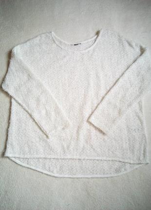 Белый летний свитер травка оверсайз
