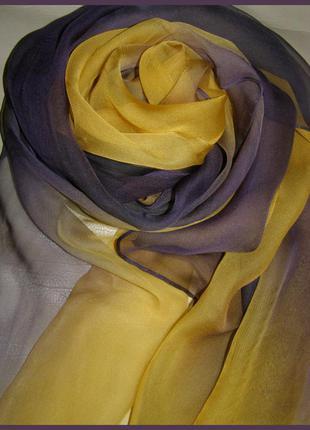 Дизайнерский шелковый платок шарф – омбре – 100% шелк- италия - 171х51 см