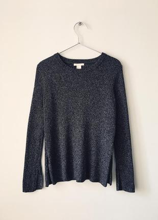 Хлопковый джемпер темно-серого цвета h&m темно-серый свитер в рубчик