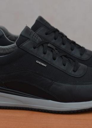 Черные кожаные кроссовки с плотной сеткой geox, 42 размер. оригинал