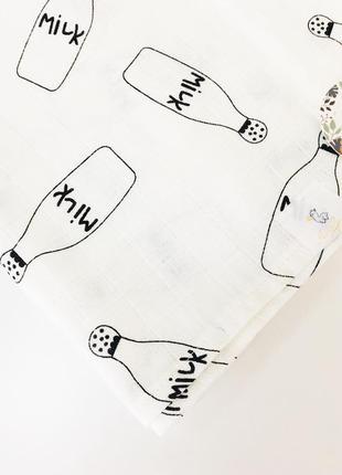 Пелёнка муслиновая двуслойная в роддом 100*80 бутылочки с молоком