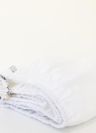 Простынь на резинке хлопковая белая в кроватку 120*60