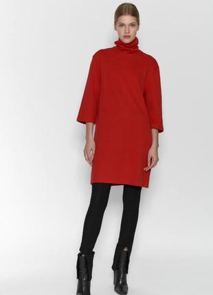 Красное теплое свободное платье с высоким горлом от zara хлопок