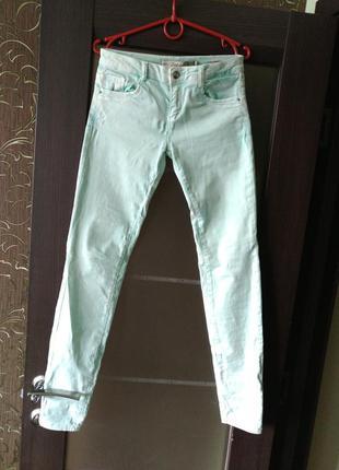 Мятные джинсы скинни zara