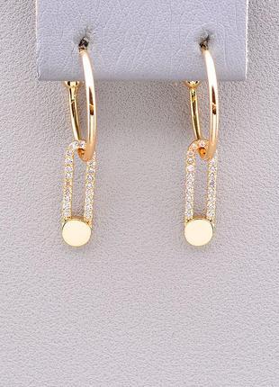 Очень стильные золотые серьги с камнями