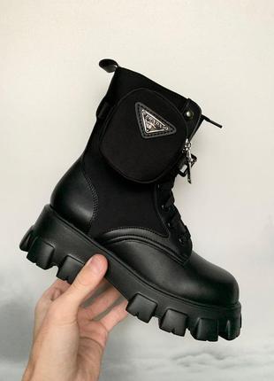 Женские кожаные осенние 🍂 ботинки/сапоги/ботильоны prada monolith черного цвета 😍