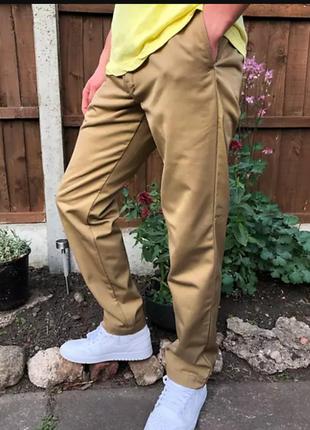 🌿1+1=3 фирменные прямые мужские брюки чинос темный беж denim co, размер 50 - 52