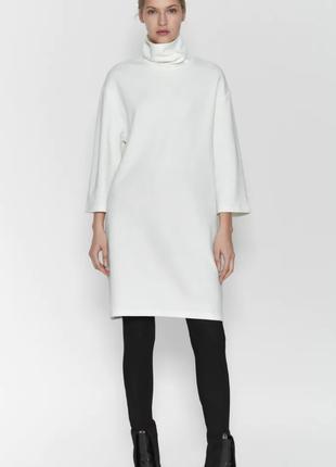 Белое теплое свободное платье с высоким горлом от zara хлопок