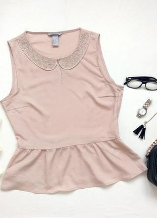 Классная блуза, блузка с вышитым бисером воротником бренда h&m