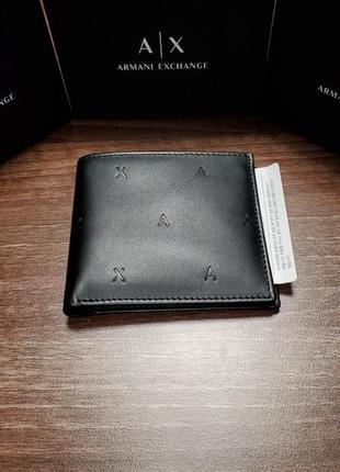 Кожаный кошелек armani exchange черный на подарок