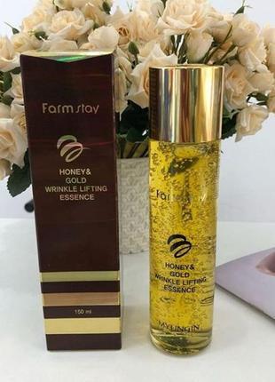 Антивозрастная эссенция для лица farmstay honey & gold wrinkle lifting essence - 130 мл