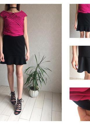 Тильная трикотажная юбка на резинке с баской внизу