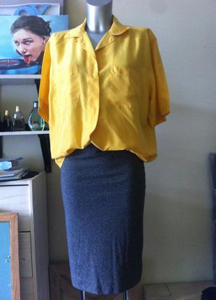 Шелковая желтая блуза оверсайз шелк 100% 12-14-16-18 италия