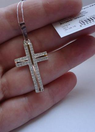 Крест ,крестик серебро 925 пробы с накладками золота 375 пробы