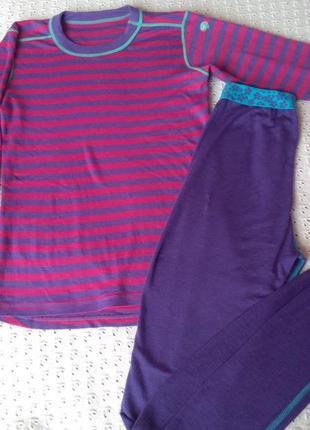 Термобілизна з мериносової шерсті комплект реглан штани термо футболка леггинсы термобелье