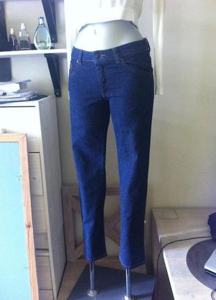Новые тёмно синие джинсы индиго 6-8 зауженые укороченные от f&f