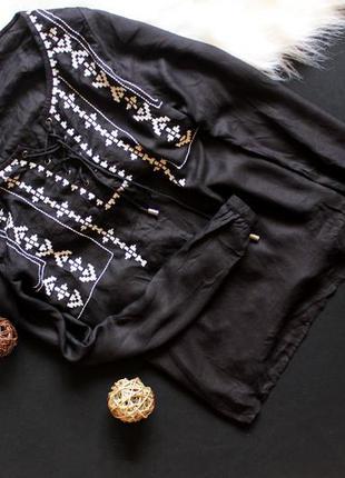 Блуза с вышивкой на завязках нью лук