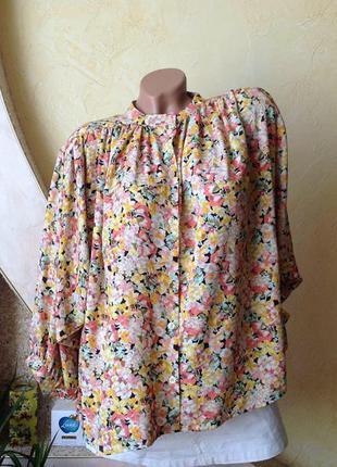 Нарядная блуза с широкими рукавами цветочный принт