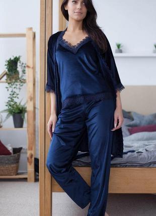 Mito бархат комплект халат и пижама со штанами с кружевом синий