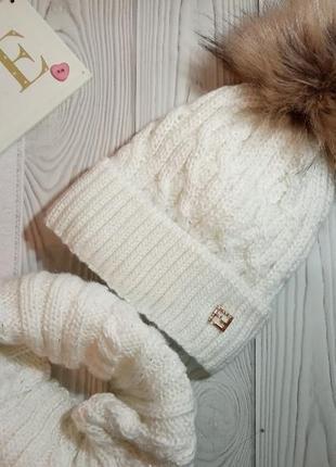 Шапка хомут зимний комплект набор для девочек