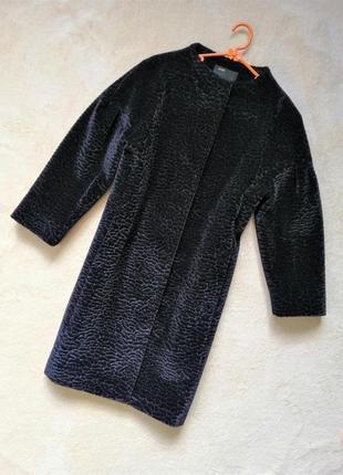 Стильное шерстяное пальто на осень имитация каракуля