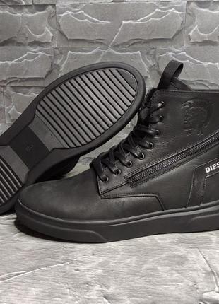 Diesel, мужские кожаные зимние ботинки натуральная кожа