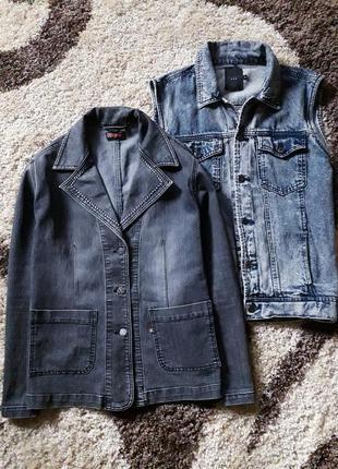 Базовый джинсовый пиджак/жакет с отложным воротником в стиле casual benson.