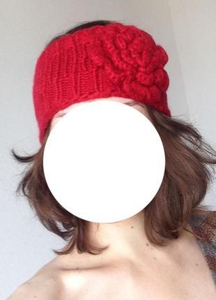 Яркая стильна вязаная повязка на голову крупный цветок осень зима деми теплая цветочек