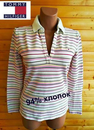 Симпатичная футболка поло американского бренда tommy hilfiger с длинным рукавом.