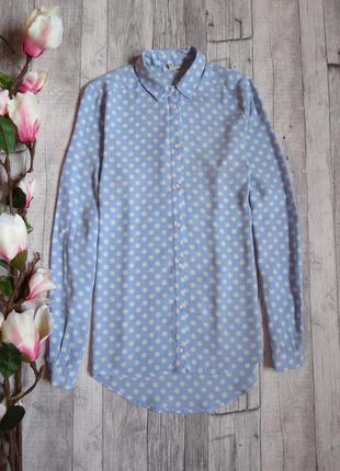 Крутая блуза небесного цвета в горох фирмы river island