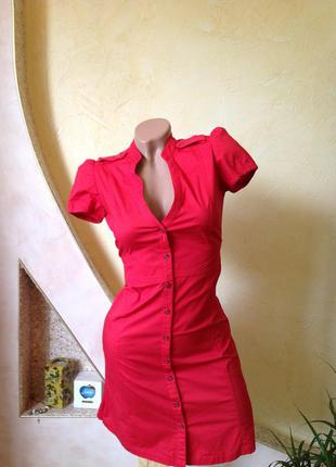 Красное платье рубашка mango