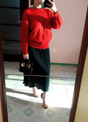 Объемный вязаный с косам свитер м\l