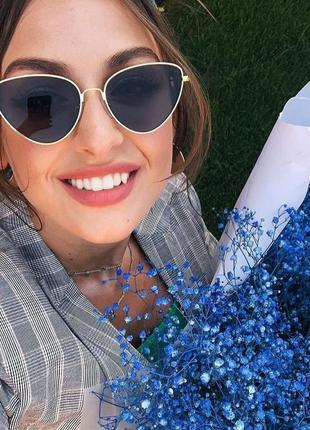 Качественные очки бабочки черные имиджевые солнцезащитные ретро винтаж окуляри
