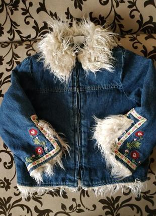 Джинсовая куртка утепленная 4-5 лет, вышивка