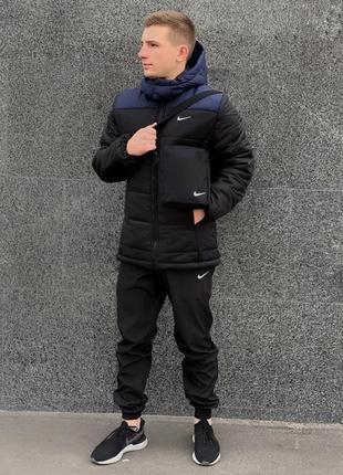 Комплект куртка мужская зимняя найк + утепленные штаны. барсетка и перчатки в подарок.